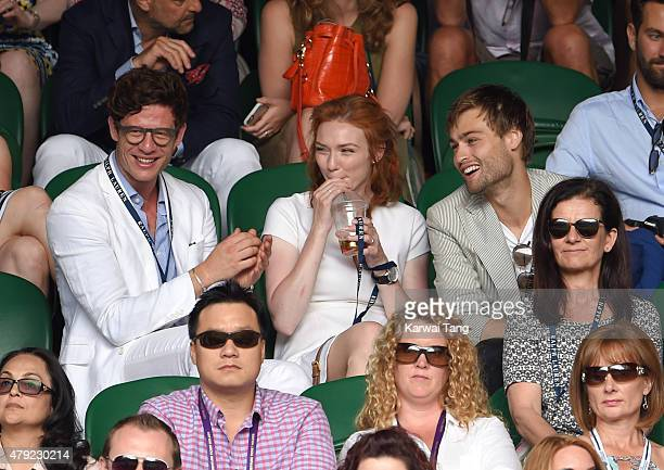 James Norton Eleanor Tomlinson and Douglas Booth attend the Robin Hasse v Andy Murray match on day four of the Wimbledon Tennis Championships at...