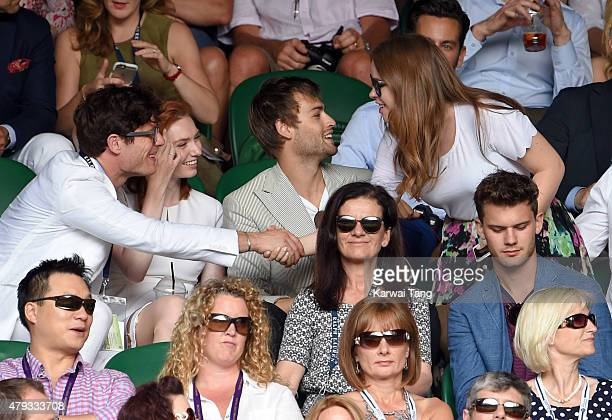 James Norton Eleanor Tomlinson Douglas Booth and Tanya Burr attend the Sam Querrey v Roger Federer match on day four of the Wimbledon Tennis...