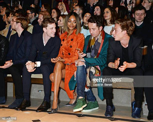 James Norton George Barnett Jourdan Dunn Nick Grimshaw and Ben Nordberg attends the front row at Burberry Prorsum AW15 London Collections Men at...