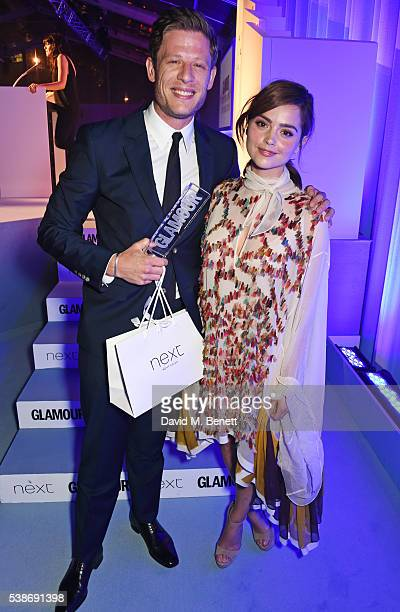 James Norton winner of the Man of the Year award and Jenna Coleman attend the Glamour Women Of The Year Awards in Berkeley Square Gardens on June 7...