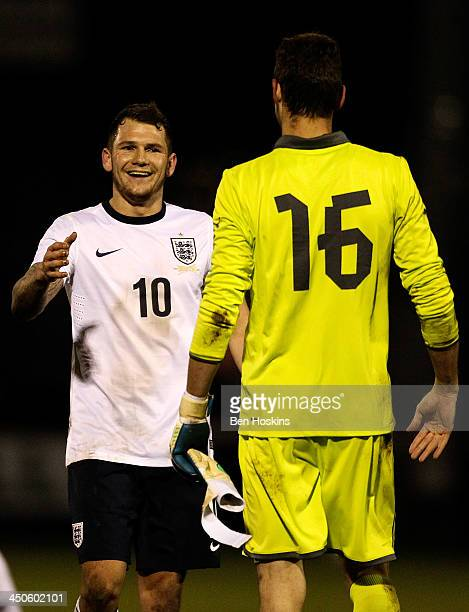 James Norwood of England acknowledges Jiri Pavlenka of the Czech Republic at the final whistle during an International 'C' friendly match between...