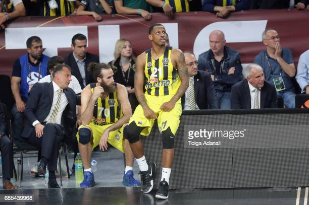 James Nunnally #21 and Luigi Datome #70 of Fenerbahce in action during the Turkish Airlines EuroLeague Final Four Semifinal A game between Fenerbahce...