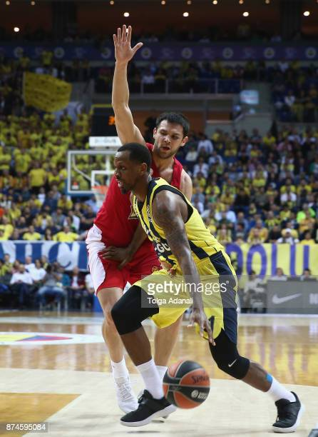 James Nunnally #21 of Fenerbahce Dogus Istanbul in action during the 2017/2018 Turkish Airlines EuroLeague Regular Season Round 7 game between...
