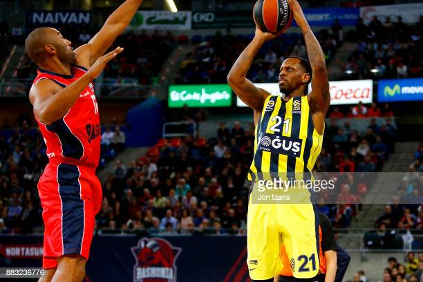 James Nunnally #21 of Fenerbahce Dogus Istanbul in action during the 2017/2018 Turkish Airlines EuroLeague Regular Season game between Baskonia...