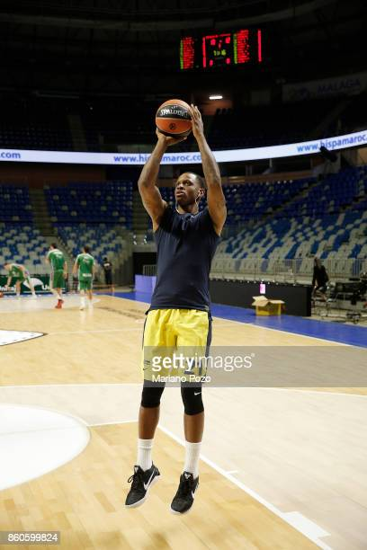James Nunnally #21 of Fenerbahce Dogus Istanbul warming up before the 2017/2018 Turkish Airlines EuroLeague Regular Season Round 1 game between...