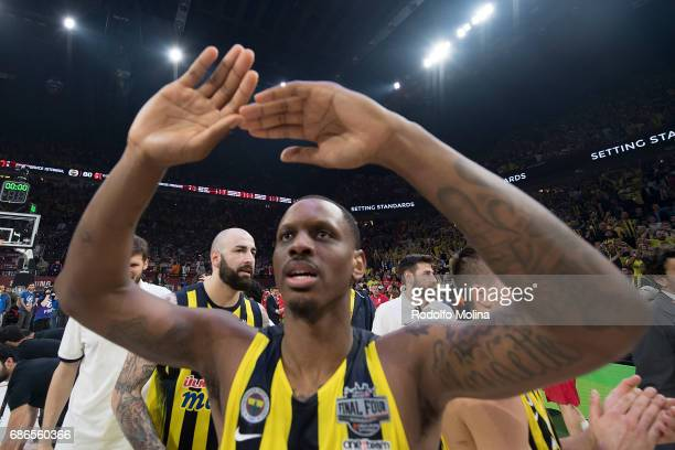 James Nunnally #21 of Fenerbahce Istanbul celebrates during the 2017 Final Four Istanbul Turkish Airlines EuroLeague Champion Trophy Ceremony at...