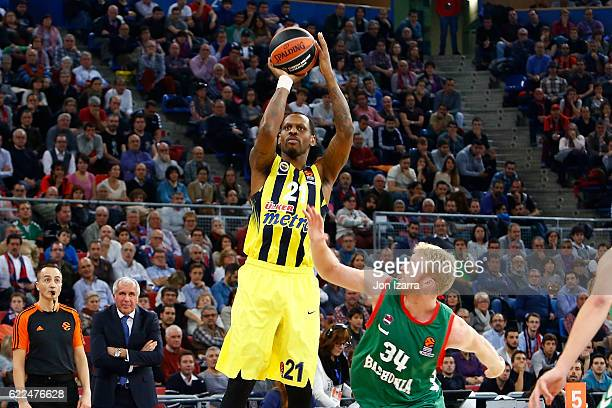 James Nunnally #21 of Fenerbahce Istanbul in action during the 2016/2017 Turkish Airlines EuroLeague Regular Season Round 6 game between Baskonia...