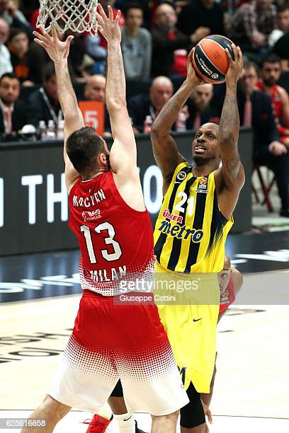 James Nunnally #21 of Fenerbahce Istanbul in action during the 2016/2017 Turkish Airlines EuroLeague Regular Season Round 9 game between EA7 Emporio...