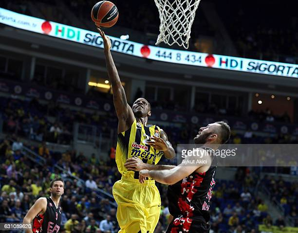 James Nunnally #21 of Fenerbahce Istanbul in action during the 2016/2017 Turkish Airlines EuroLeague Regular Season Round 16 game between Fenerbahce...