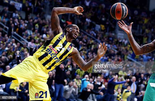 James Nunnally #21 of Fenerbahce Istanbul in action during the 2016/2017 Turkish Airlines EuroLeague Regular Season Round 18 game between Fenerbahce...