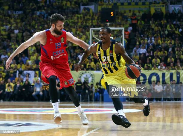 James Nunnally #21 of Fenerbahce Istanbul in action during the 2016/2017 Turkish Airlines EuroLeague Regular Season Round 21 game between Fenerbahce...