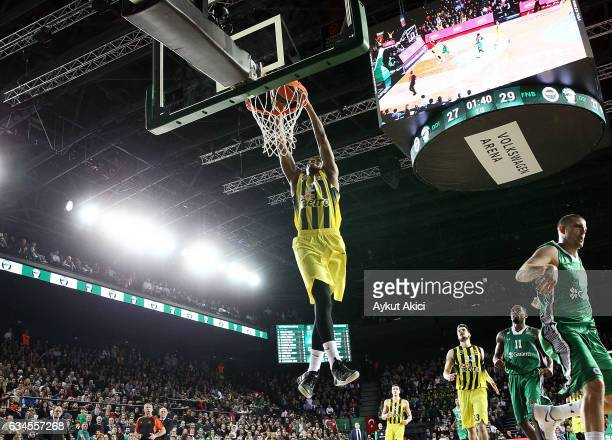 James Nunnally #21 of Fenerbahce Istanbul in action during the 2016/2017 Turkish Airlines EuroLeague Regular Season Round 22 game between Darussafaka...