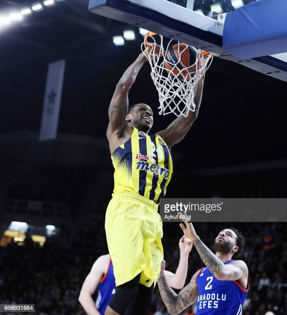 James Nunnally #21 of Fenerbahce Istanbul in action during the 2016/2017 Turkish Airlines EuroLeague Regular Season Round 28 game between Anadolu...