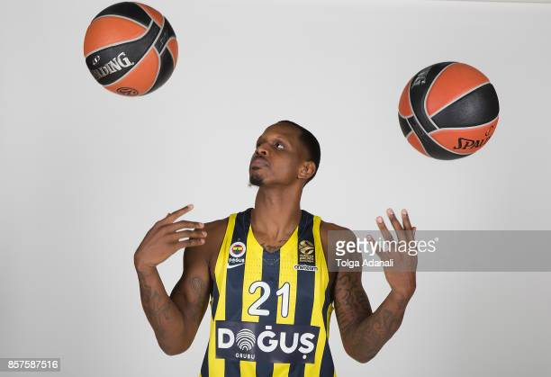 James Nunnally #21 poses during Fenerbahce Dogus Istanbul 2017/2018 Turkish Airlines EuroLeague Media Day at Ulker Sports Arena on October 2 2017 in...
