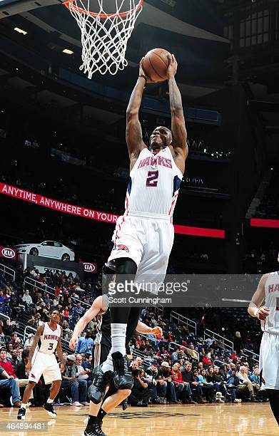 James Nunnally of the Atlanta Hawks dunks against the San Antonio Spurs on January 24 2014 at Philips Arena in Atlanta Georgia NOTE TO USER User...