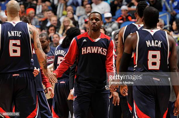 James Nunnally of the Atlanta Hawks runs out before the game against the Orlando Magic on January 22 2014 at Amway Center in Orlando Florida NOTE TO...