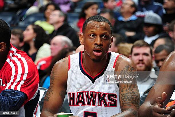 James Nunnally of the Atlanta Hawks sits on the bench against the San Antonio Spurs on January 24 2014 at Philips Arena in Atlanta Georgia NOTE TO...