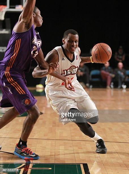 James Nunnally of the Bakersfield Jam dribbles the ball against the Iowa Energy during the 2014 NBA DLeague Showcase presented by Samsung Galaxy on...