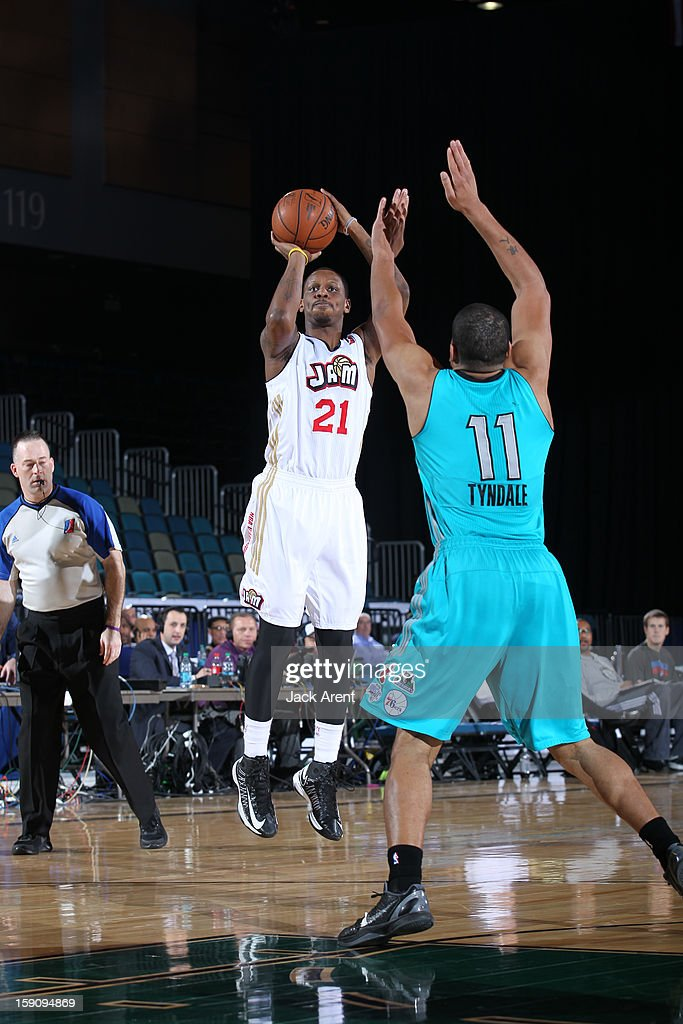 James Nunnally #21 of the Bakersfield Jam shoots the ball against the Sioux Falls Skyforce during the 2013 NBA D-League Showcase on January 7, 2013 at the Reno Events Center in Reno, Nevada.