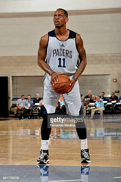 James Nunnally of the Indiana Pacers attempts a free throw against the Brooklyn Nets on July 5 2014 at Amway Center in Orlando Florida NOTE TO USER...