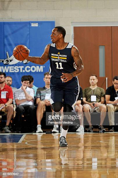 James Nunnally of the Indiana Pacers drives against the Oklahoma City Thunder during the Samsung NBA Summer League 2014 on July 9 2014 at Amway...