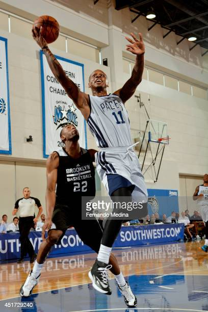 James Nunnally of the Indiana Pacers shoots against the Brooklyn Nets on July 5 2014 at Amway Center in Orlando Florida NOTE TO USER User expressly...