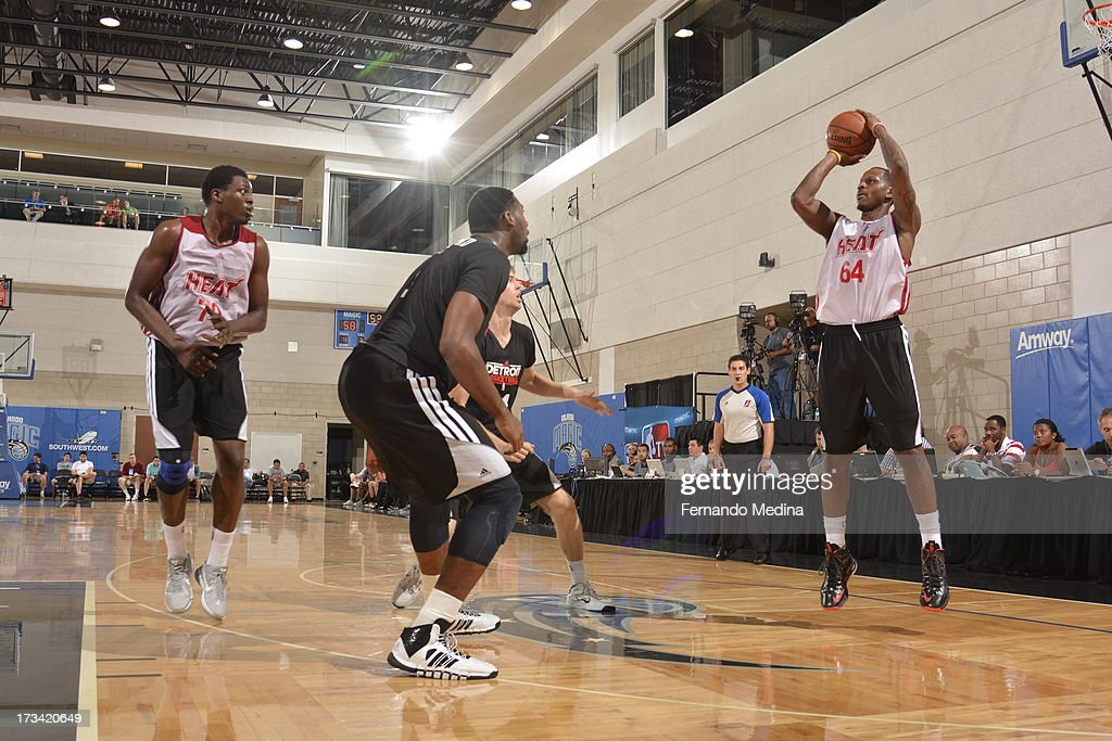 James Nunnally #64 of the Miami Heat shoots the ball during the 2013 Southwest Airlines Orlando Pro Summer League between the Detroit Pistons and the Miami Heat on July 12, 2013 at Amway Center in Orlando, Florida.