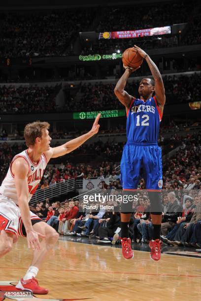 James Nunnally of the Philadelphia 76ers takes a shot against the Chicago Bulls on March 22 2013 at the United Center in Chicago Illinois NOTE TO...