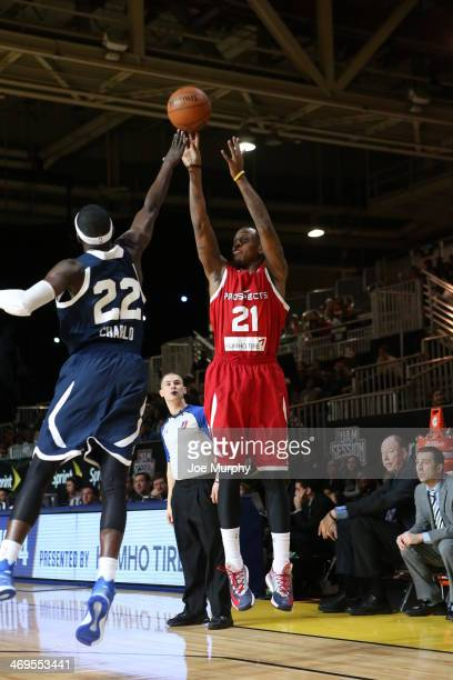 James Nunnally of the Prospects shoots against Mo Charlo of the Futures during the NBA DLeague AllStar Game at Sprint Arena as part of 2014 NBA...