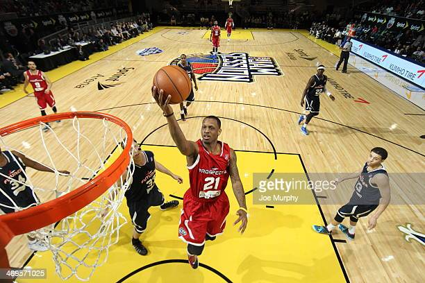 James Nunnally of the Prospects shoots against the Futures during the NBA DLeague AllStar Game at Sprint Arena as part of 2014 NBA AllStar Weekend at...
