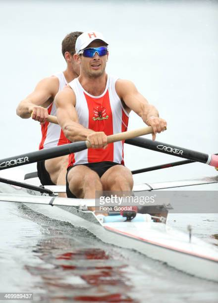James O'Connor front and ben Bowles from Avon Rowing Club at the start of the Premier Men's Coxless pairs during the Bankstream New Zealand Rowing...