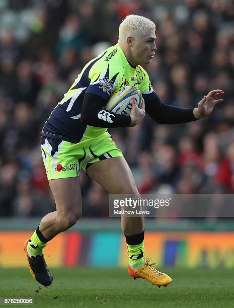 James O'Connor of Sale Sharks in action during the Aviva Premiership match between Leicester Tigers and Sale Sharks at Welford Road on November 19...