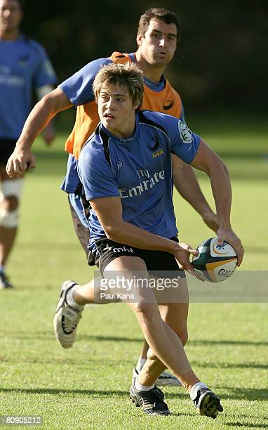 James O'Connor of the Force passes the ball during a Western Force Super 14 training session at Rugby Park Perry Lakes on April 29 2008 in Perth...