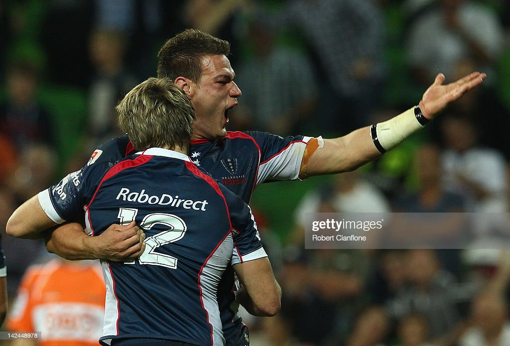 James O'Connor of the Rebels celebrates with Mitch Inman after he scored during the round seven Super Rugby match between the Melbourne Rebels and the Auckland Blues at AAMI Park on April 5, 2012 in Melbourne, Australia.