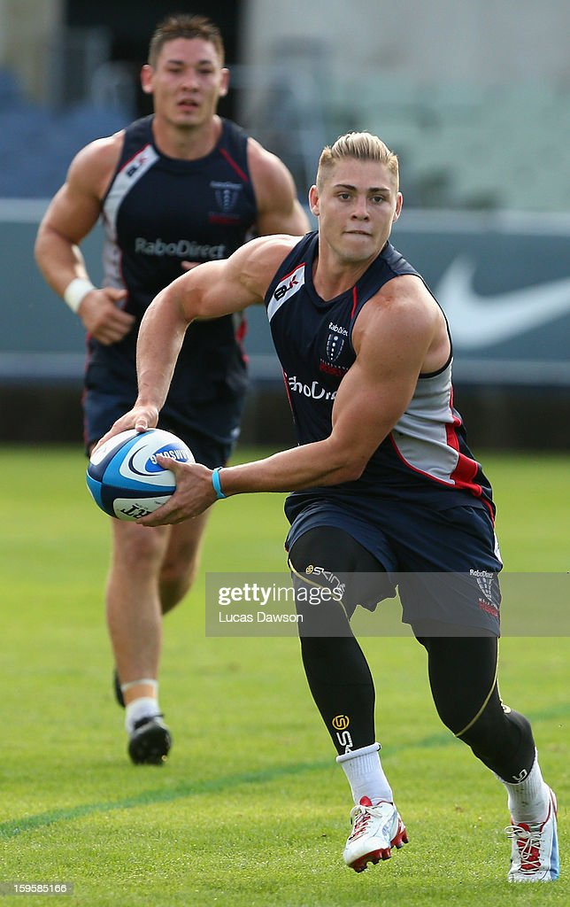 James O'Connor of the Rebels passes the ball during a Melbourne Storm and Melbourne Rebels training session at Visy Park on January 17, 2013 in Melbourne, Australia.