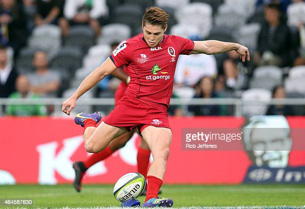 James O'Connor of the Reds kicks a goal during the round three Super Rugby match between the Highlanders and the Reds at Forsyth Barr Stadium on...