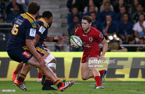 James O'Connor of the Reds looks at his options during the round three Super Rugby match between the Highlanders and the Reds at Forsyth Barr Stadium...