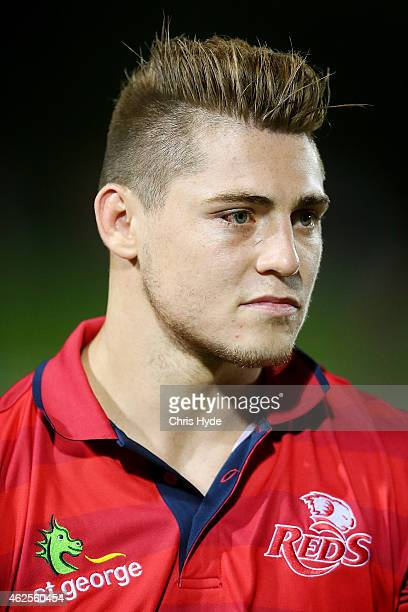 James O'Connor of the Reds looks on from the sideline during the Super Rugby trial match between the Queensland Reds and the Melbourne Rebels at...