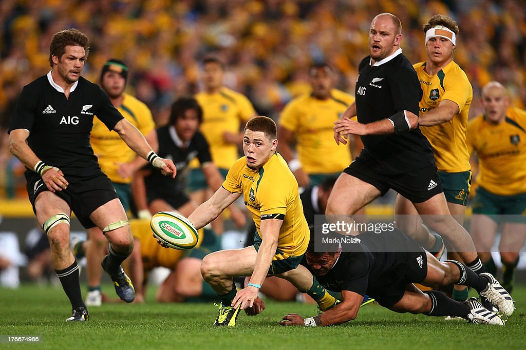 James O'Connor of the Wallabies looks to offload during The Rugby Championship Bledisloe Cup match between the Australian Wallabies and the New Zealand All Blacks at ANZ Stadium on August 17, 2013 in Sydney, Australia.