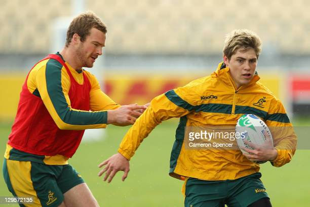 James O'Connor of the Wallabies runs with the ball during an Australia IRB Rugby World Cup 2011 training session at North Harbour Stadium on October...
