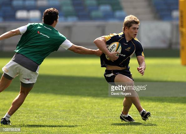 James O'Connor runs with the ball during an Australian Wallabies training session held at the Moses Mabhida Stadium on September 1 2010 in Durban...