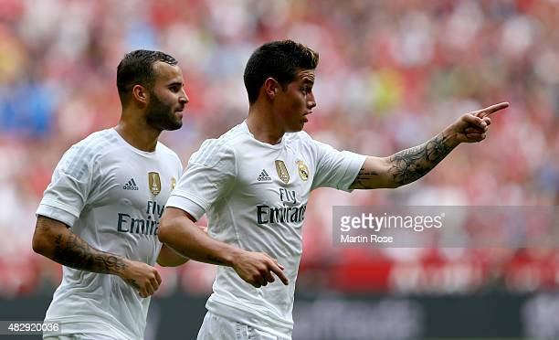James of Real Madrid celebrates after he scores the opening goal during the Audi Cup 2015 match between Real Madrid and Tottenham Hotspur at Allianz...