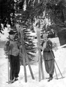 James Oliver Commisioner of Yosemite National Park and his wife inaugurate the opening of ski season at Badger Pass Yosemite National Park California...