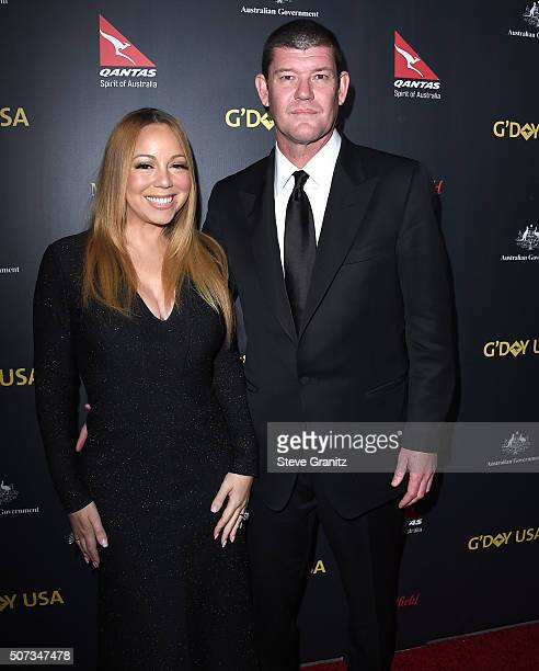 James Packer and Mariah Carey arrives at the 2016 G'Day Los Angeles Gala at Vibiana on January 28 2016 in Los Angeles California