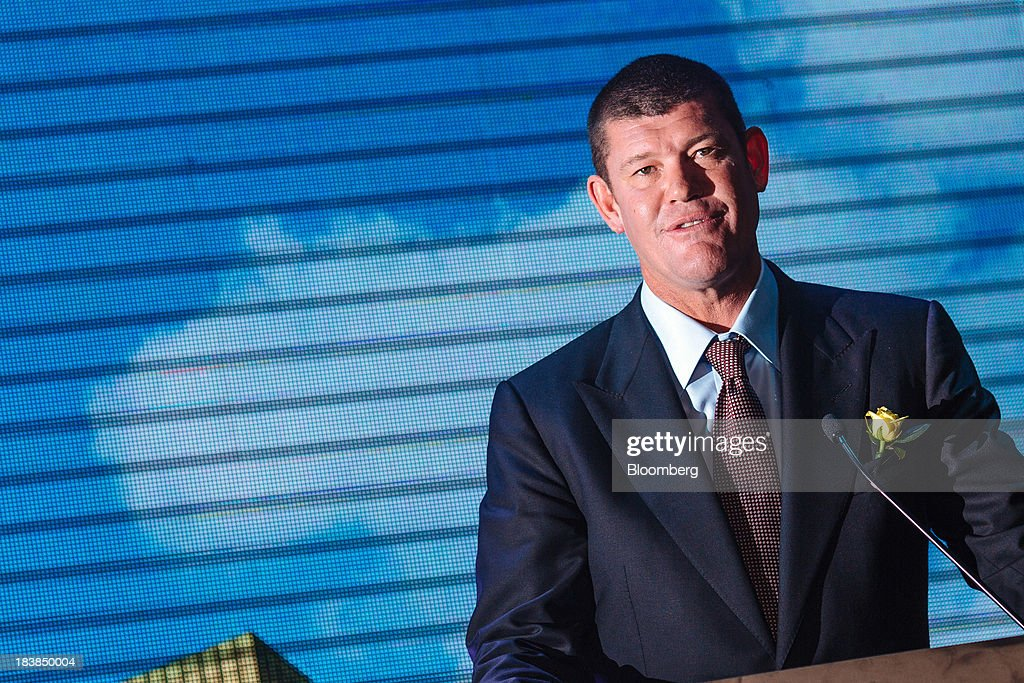 <a gi-track='captionPersonalityLinkClicked' href=/galleries/search?phrase=James+Packer&family=editorial&specificpeople=208645 ng-click='$event.stopPropagation()'>James Packer</a>, co-chairman of Melco Crown Entertainment Ltd. and chairman of Crown Ltd., speaks during a news conference in Manila, the Philippines, on Wednesday, Oct. 9, 2013. Melco Crown Entertainment Ltd. co-Chairman Lawrence Ho said gambling revenue in the Philippines 'could easily' double to $4 billion in a couple of years, setting the stage to challenge Singapore as Asia's second-biggest gaming hub. Photographer: Julian Abram Wainwright/Bloomberg via Getty Images