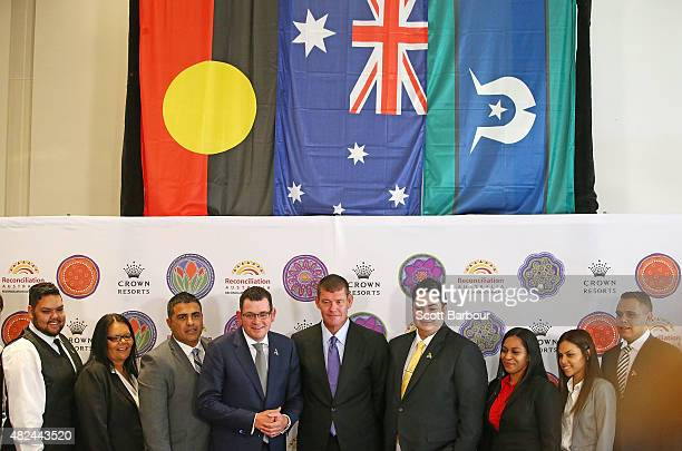 James Packer Crown Resorts Chairman and Daniel Andrews MP Premier of Victoria pose with members of the indigenous employee group as they launch Crown...