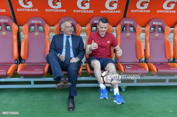 James Pallotta and Alessandro Florenzi during the Italian Serie A football match between AS Roma and FC Genoa at the Olympic Stadium in Rome on may...