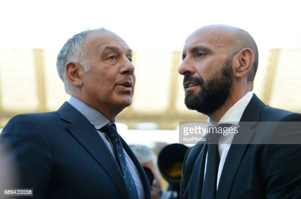 James Pallotta and Monchi during the Italian Serie A football match between AS Roma and FC Genoa at the Olympic Stadium in Rome on may 28 2017