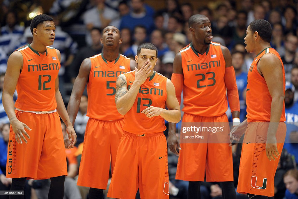 James Palmer Davon Reed Angel Rodriguez Tonye Jekiri and Omar Sherman of the Miami Hurricanes look on during their game against the Duke Blue Devils...
