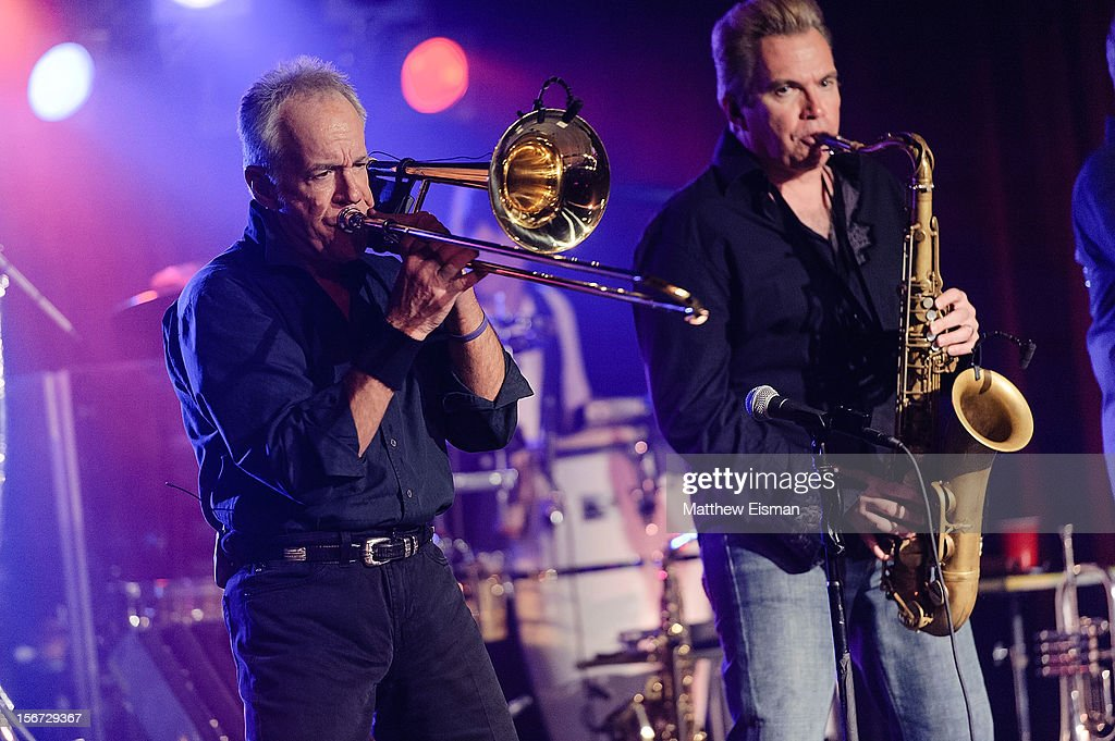James Pankow (L) and Walt Parazaider of the rock band Chicago perform on stage during the 2012 Musicians On Call's benefit concert at B.B. King Blues Club & Grill on November 19, 2012 in New York City.